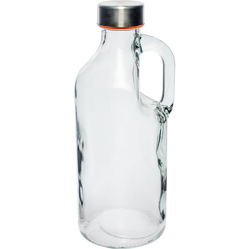 1l glass bottle with cap and hand  - 1