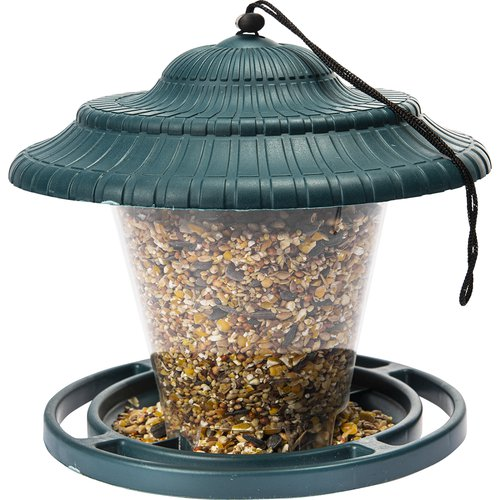 Plastic bird feeder - green 17,8 x17 cm - 2 ['feeding birds']