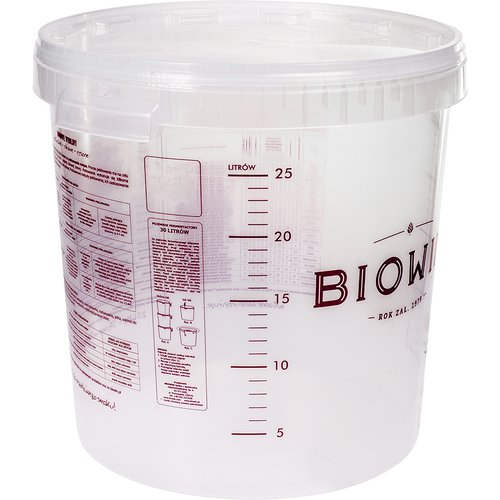 Fermentation bucket 30l with printing and lid, transparent  - 1