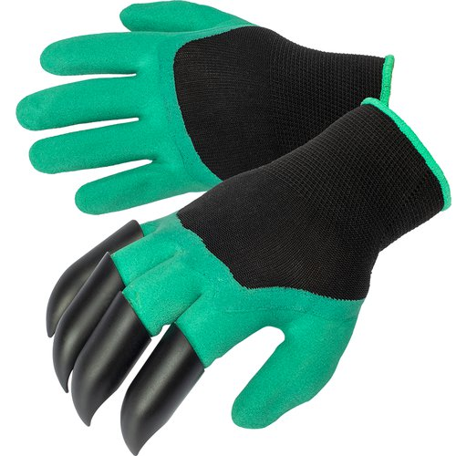 Gardening gloves with claws – green  - 1