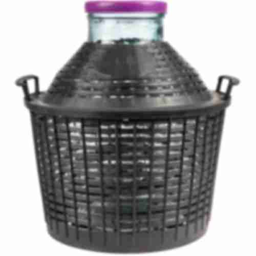 15l wide neck demijohn in plastic basket Ø138/116 mm
