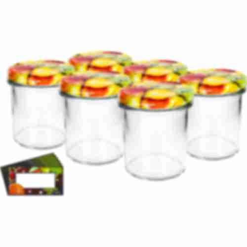 346ml twist off glass jar with lid Ø82/6 and label , fruit graphic  - 6 pcs.