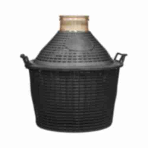 34l wide neck demijohn in plastic basket Ø138/116 mm