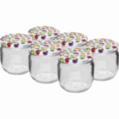 370 ml twist off jar with coloured lid fi 82/6  -6pcs