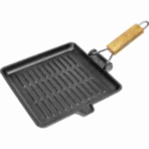 Cast iron griddle pan with handle, 24x24 cm