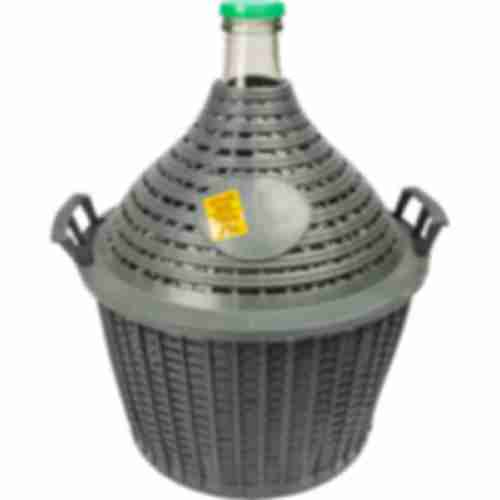 Demijohn for wine in plastic basket 15 L