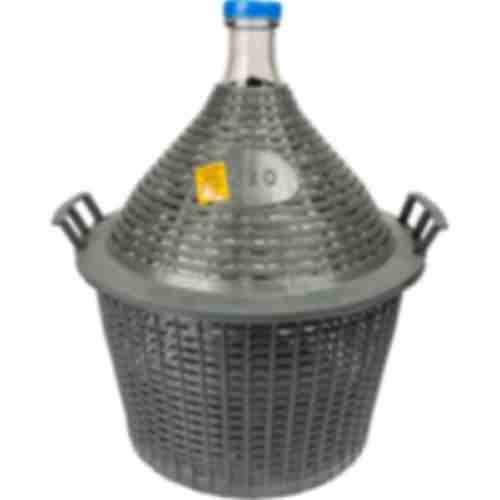 Demijohn for wine in plastic basket 20 L