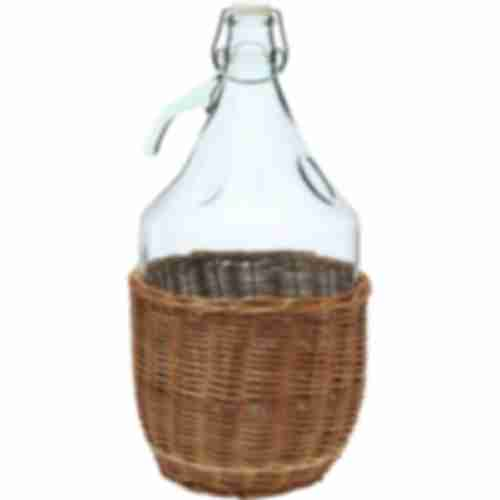 Glass container in the wicker basket 5 L