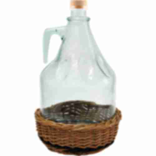 Glass  container in the wicker basket with a cap 3