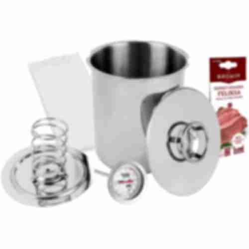 Stainless steel press ham maker / pressure ham cooker 3kg set with thermometer and cooking bags