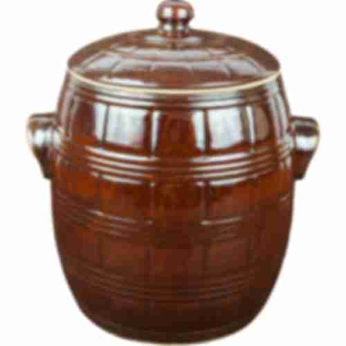 Stoneware barrel - with water seal and lid - 4,5L