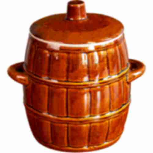 Stoneware barrel - with lid - 4,5L
