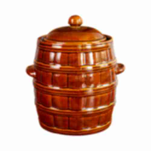 Stoneware barrel - with lid and seal - 8L