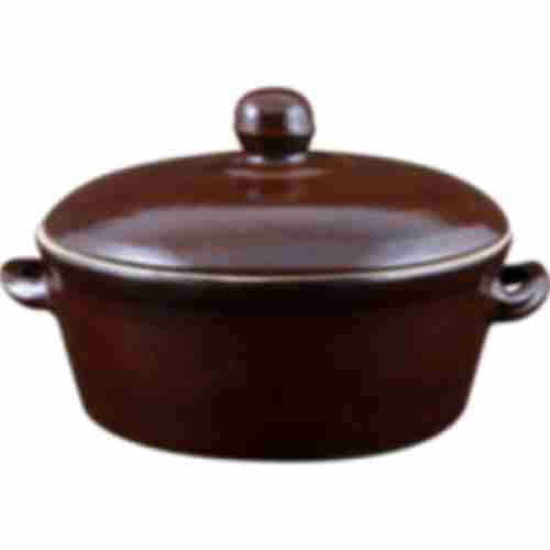 Stoneware pot - for lard - with lid - 0.8L