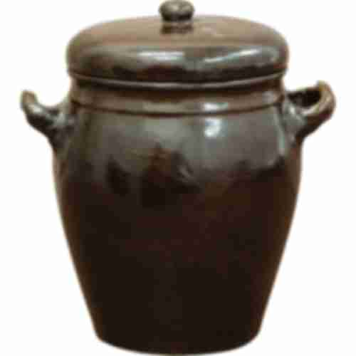 Stoneware pot - rustic - with lid - 1.6L