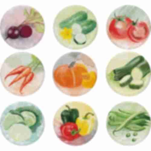 Twist off lid Ø66 , PasteLOVE vegetables graphic- 10 pcs.