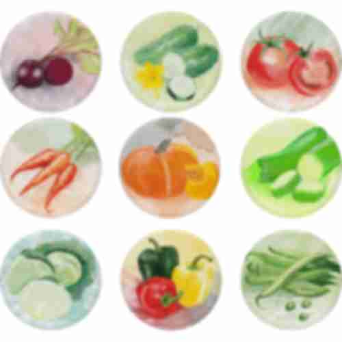 Twist off lid Ø82/6 , pasteLove vegetables graphic - 10 pcs.