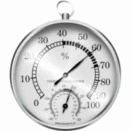 Wall metal weather station , thermometer , hygrometer , silver coloured dials  Ø 100mm