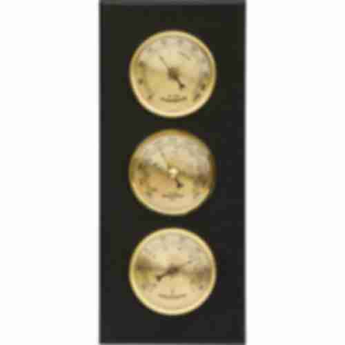 Wall weather station , barometer , hygrometer , thermometer, gold coloured dials , MDF wood
