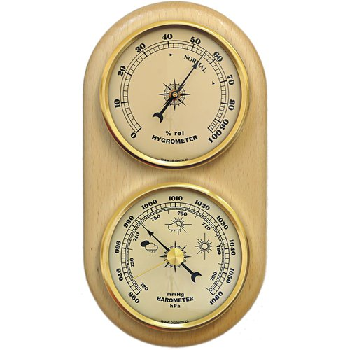 Wall weather station , barometer , hygrometer , gold coloured dials , 180 mm x 90 mm  - 1
