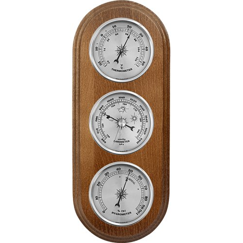 Wall weather station , barometer , hygrometer , thermometer, silver coloured dials , 280 mm x 120 mm  - 2